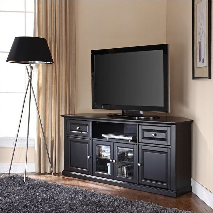 Excellent Common TV Stands For Large TVs For Best 25 Black Corner Tv Stand Ideas On Pinterest Small Corner (View 8 of 50)