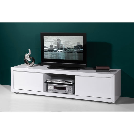 Excellent Common White High Gloss Corner TV Stands Throughout High Gloss White Lcd Plasma Tv Stand With 2 Drawers (Image 14 of 50)
