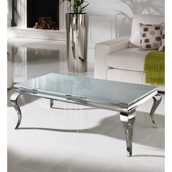 Excellent Deluxe Chrome Coffee Tables With Regard To 130cm Large White And Chrome Coffee Table (Image 14 of 50)