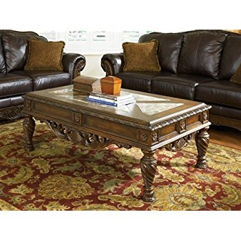 Excellent Deluxe Dark Brown Coffee Tables Pertaining To Amazon Ashley Furniture Signature Design North Shore Coffee (View 24 of 50)