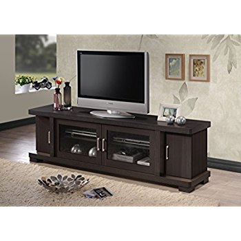 Excellent Deluxe Dark Wood TV Stands Pertaining To Amazon We Furniture 70 Espresso Wood Tv Stand Console (Image 13 of 50)