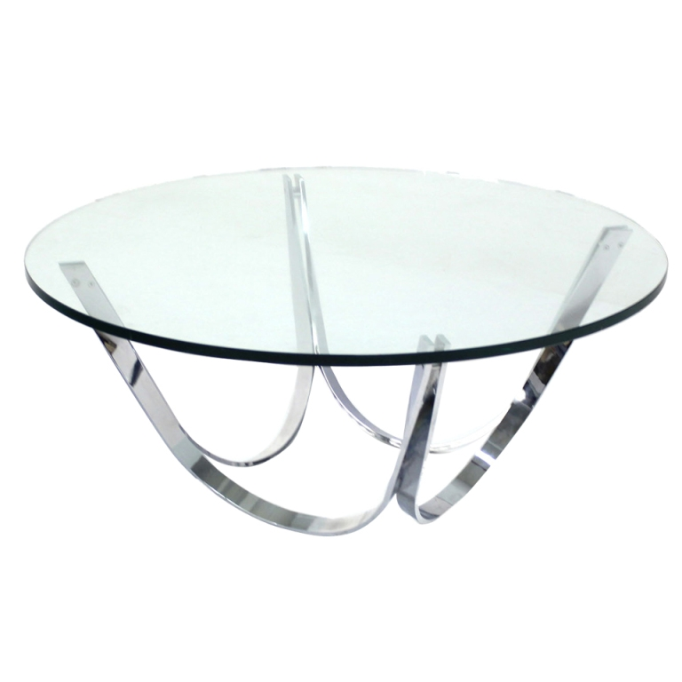 Excellent Deluxe Glass And Chrome Coffee Tables Intended For Coffee Tables Ideas Awesome Round Chrome Coffee Table Modern (Image 12 of 50)