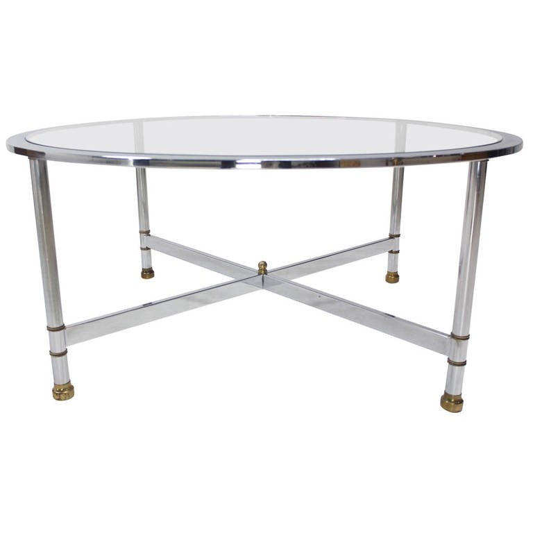 Excellent Deluxe Glass Circular Coffee Tables Throughout Chrome Brass And Glass Round Coffee Table Jansen For Sale At (Image 13 of 50)