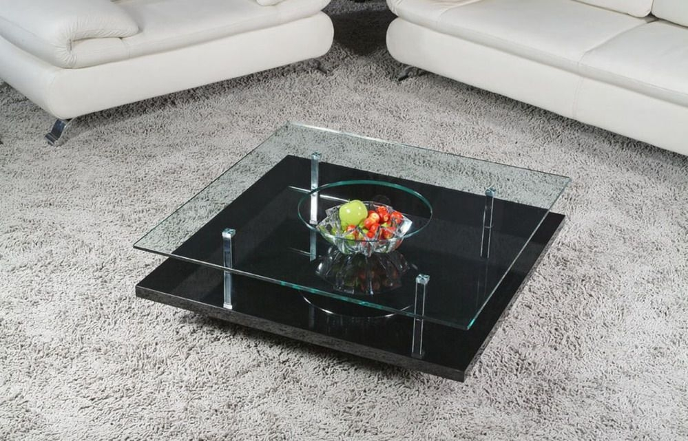 Excellent Deluxe Glass Coffee Tables With Storage Pertaining To Square Glass Coffee Table (Image 13 of 50)