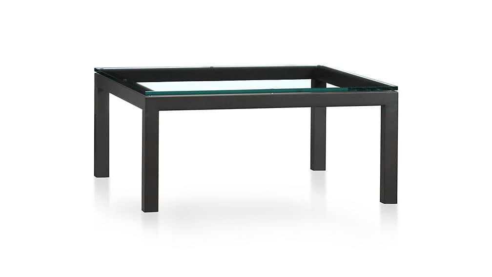 Excellent Deluxe Glass Square Coffee Tables Within Parsons Clear Glass Top Dark Steel Base 36×36 Square Coffee Table (View 11 of 50)