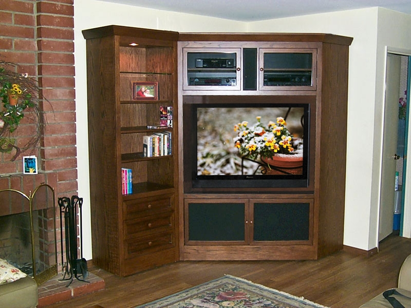 Excellent Deluxe Large Corner TV Stands Intended For Oak Tv Stand With Glass Doors Un Varnish Teak Wood Media Cabinet (View 12 of 50)