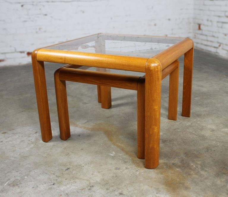 Excellent Deluxe Retro Teak Glass Coffee Tables Inside Vintage Danish Mid Century Modern Teak And Glass Square Nesting (Image 16 of 50)