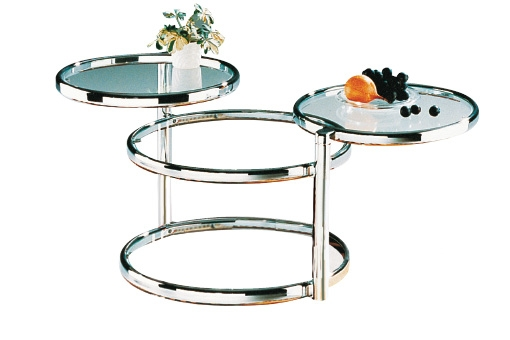 Excellent Deluxe Round Swivel Coffee Tables Inside Ottawa Swivel Motion Glass Coffee Table In Chrome (View 34 of 50)