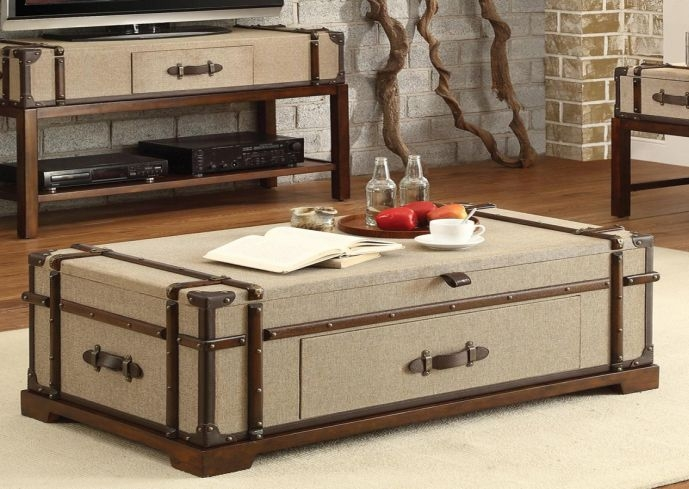 Excellent Deluxe Steamer Trunk Stainless Steel Coffee Tables Inside Trunks As Coffee Tables (Image 14 of 50)