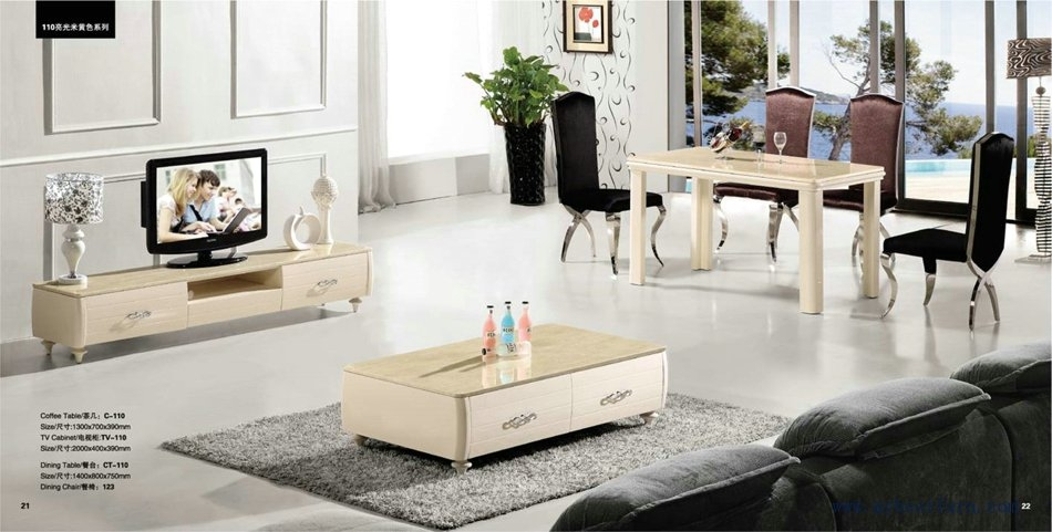 Excellent Deluxe Tv Unit And Coffee Table Sets Regarding Beige Color Coffee Tabletv Standdinning Table Set Free Shippi (Image 11 of 50)