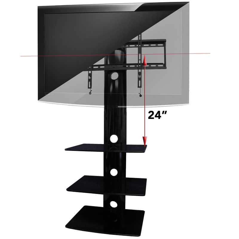 Excellent Deluxe Wall Mounted TV Stands With Shelves In Tv Wall Mount With Three Shelves Tv Mounts Av Express (Image 17 of 50)