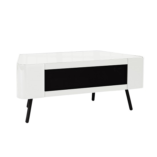 Excellent Deluxe White High Gloss Corner TV Stands Pertaining To Norvik Tv Stand In White High Gloss With Glass Door  (Image 15 of 50)