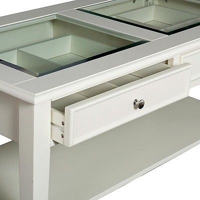 Excellent Deluxe White Wood And Glass Coffee Tables Pertaining To Solid Wood Shadow Box Display Coffee Table Glass Top 2 Drawers (Image 13 of 40)