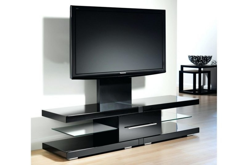 Excellent Elite 44 Swivel Black Glass TV Stands Intended For 44 Swivel Black Glass Tv Stand (Image 15 of 50)