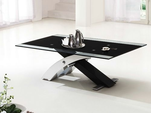 Excellent Elite Black Glass Coffee Tables Throughout Beautiful Black Glass Coffee Table With White Gloss Legs In Decor (Image 19 of 50)