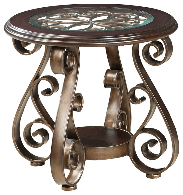 Excellent Elite Bombay Coffee Tables Regarding Standard Furniture Bombay Round Glass Top End Table In Burnished (Image 14 of 50)