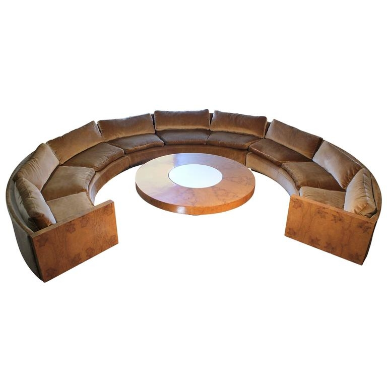 Excellent Elite Curve Coffee Tables With Regard To Vintage Milo Baughman Burled Curve Circle Sofa And Coffee Table At (Image 13 of 50)