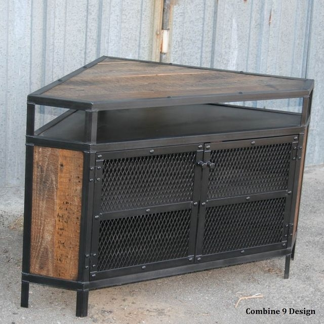 Excellent Elite Industrial Corner TV Stands Within Buy A Custom Vintage Industrial Tv Stand Corner Unit Media (Image 17 of 50)