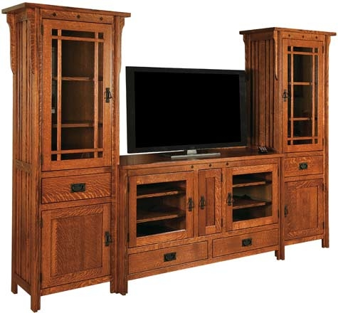 Excellent Elite Long Oak TV Stands Inside 33 Off Royal Mission Tv Stand Wtowers In Oak Solid Wood Amish (Image 13 of 50)