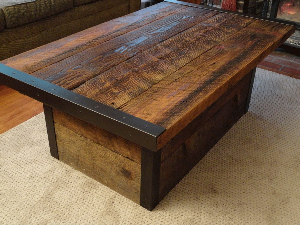 Excellent Elite Pine Coffee Tables With Storage Throughout Charming And Homely Rustic Storage Coffee Table Tedxumkc Decoration (Image 14 of 50)