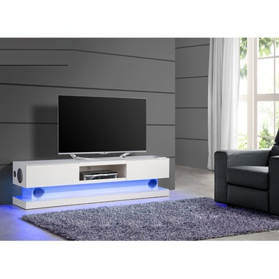 Excellent Elite TV Stands With LED Lights Within Royal White High Gloss Finish Plasma Tv Stand With Led (Image 13 of 50)