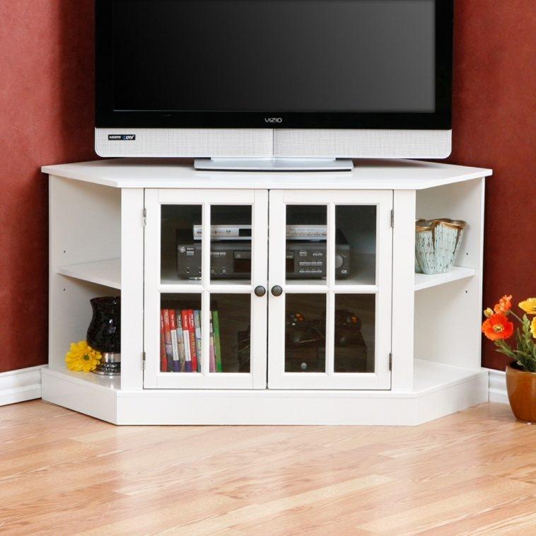 Excellent Elite White Wood Corner TV Stands For Furniture White Wooden Corner Tv Stand With Double Wooden Shelf (Image 16 of 50)