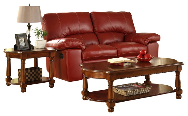 Excellent Famous 2 Piece Coffee Table Sets Inside Homelegance Amaya 2 Piece Coffee Table Set In Warm Cherry (View 32 of 50)