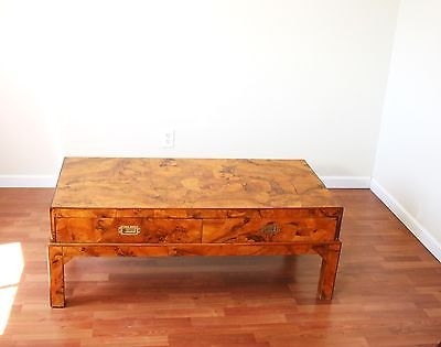 Excellent Famous Campaign Coffee Tables With Vintage Hollywood Regency Oyster Burl Wood Campaign Coffee Table (Image 15 of 50)