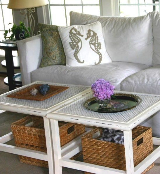 Excellent Famous Coffee Table With Wicker Basket Storage For Coastal Wicker Baskets Decorative Storage Ideas For A Beach House (Image 13 of 40)