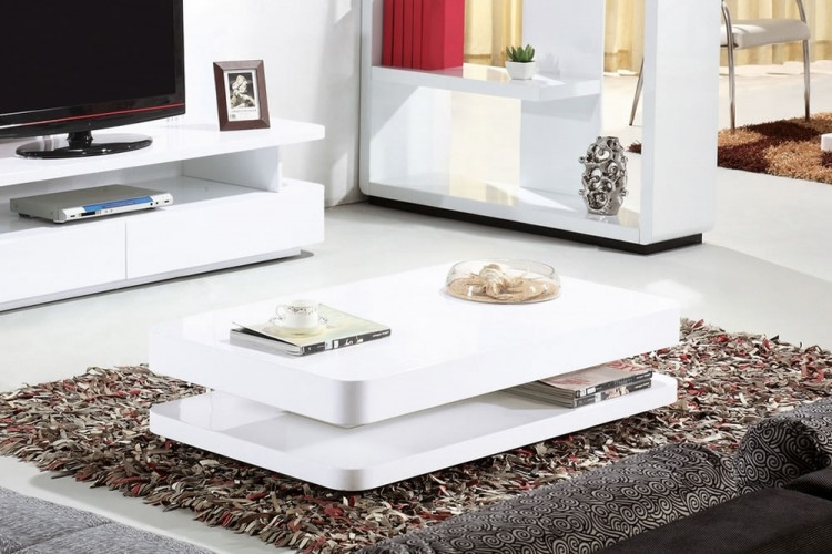 Excellent Famous Coffee Tables White High Gloss Throughout Courbe 12m High Gloss Coffee Table (Image 14 of 40)