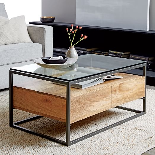 Excellent Famous Coffee Tables With Box Storage Regarding Box Frame Storage Coffee Table West Elm (Image 22 of 50)