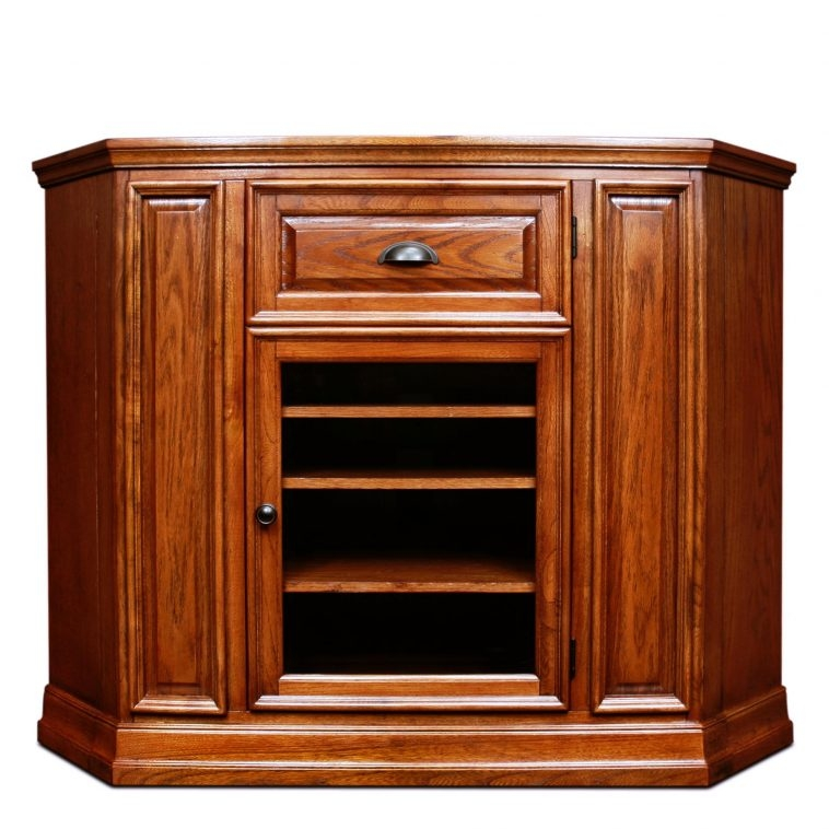 Excellent Famous Corner TV Stands With Drawers Throughout Furniture Brown Stained Wood Height Corner Tv Stand With Storage (Image 17 of 50)
