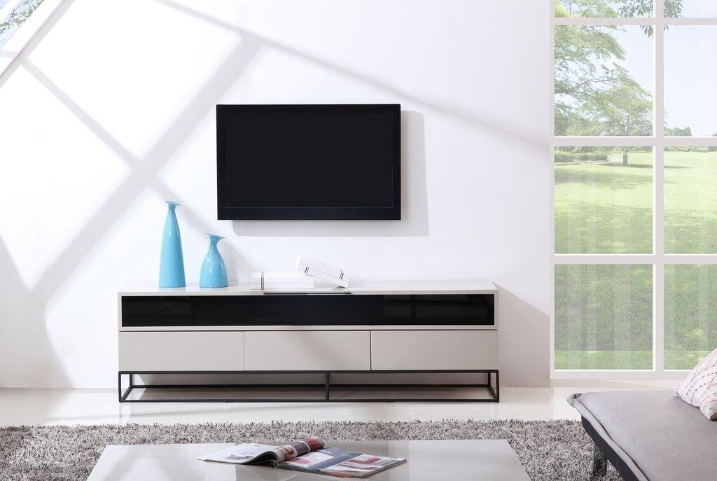 Excellent Famous Cream Gloss TV Stands Intended For Publicist Tv Stand High Gloss Cream B Modern Modern Manhattan (Image 15 of 50)