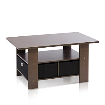 Excellent Famous Dark Brown Coffee Tables With Amazon Furinno 11158dbrbk Coffee Table With Bins Dark Brown (View 14 of 50)
