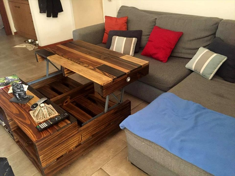 Excellent Famous Lift Up Top Coffee Tables In Diy Lift Up Top Pallet Coffee Table With Storage Wheels  (Image 9 of 40)