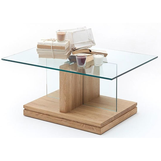 Excellent Famous Oak And Glass Coffee Tables With Regard To Lennart Glass Coffee Table And Bianco Oak Base (View 4 of 50)