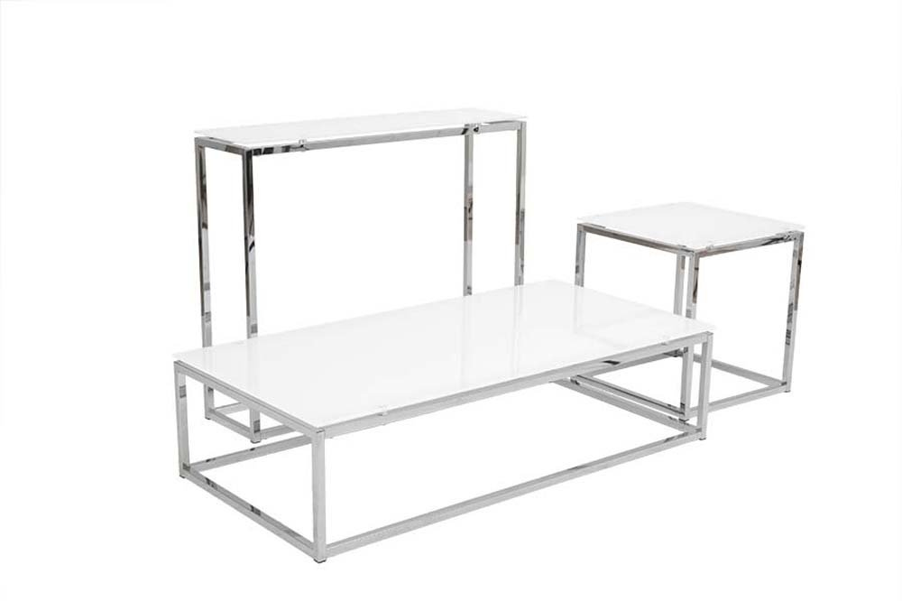 Excellent Famous White And Chrome Coffee Tables In Square Glass Chrome Coffee Table (Image 17 of 50)