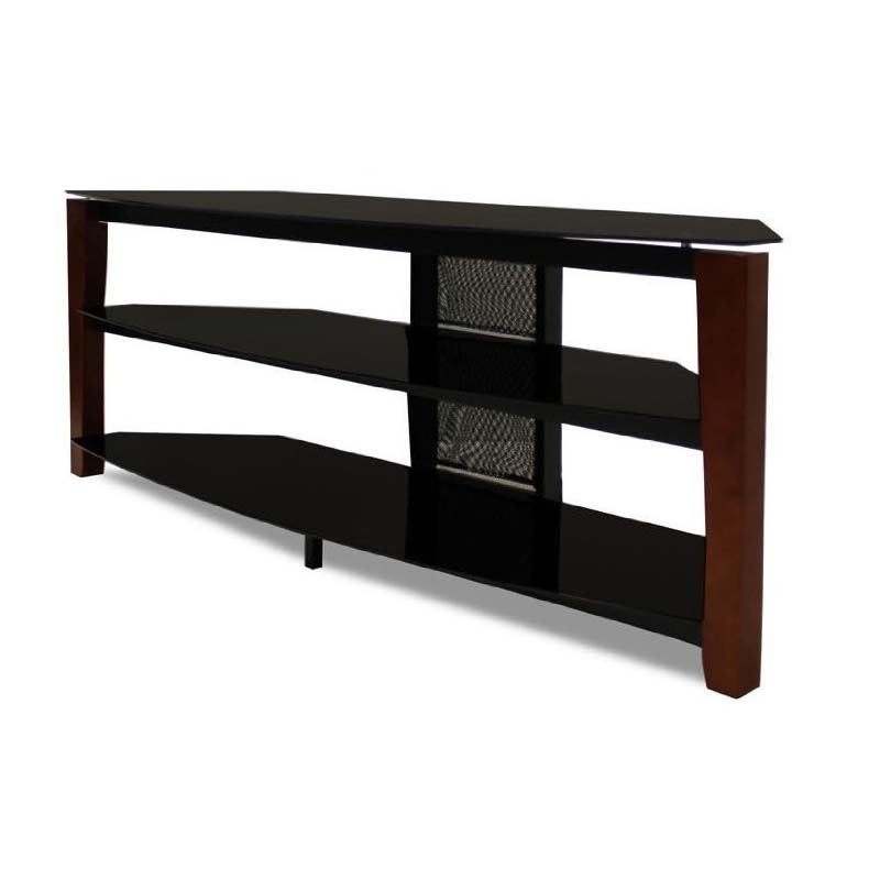 Excellent Fashionable Black Glass TV Stands With Regard To Tech Craft Solid Wood And Black Glass Tv Stand With 60 In Tv (Image 16 of 50)