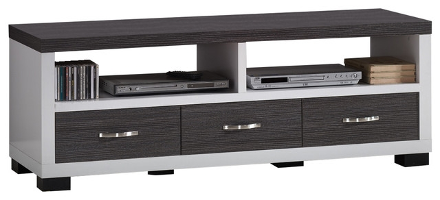 Excellent Fashionable Dark TV Stands Regarding Oxley 2 Tone White And Dark Brown Entertainment Tv Cabinet  (Image 13 of 50)