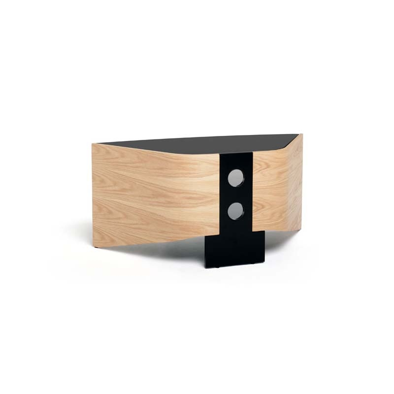 Excellent Fashionable Glass And Oak TV Stands Regarding Techlink Riva Series 50 In Corner Tv Stand Light Oak And Black (Image 12 of 50)