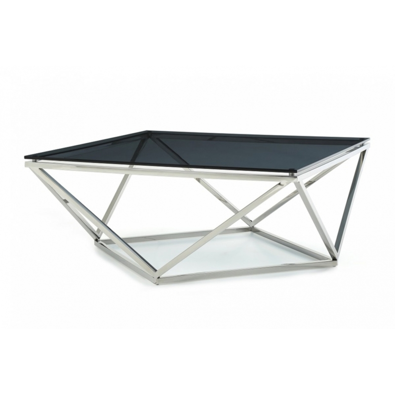 Excellent Fashionable Glass Steel Coffee Tables In Modrest Vector Modern Smoked Glass Stainless Steel Coffee Table (Image 13 of 50)