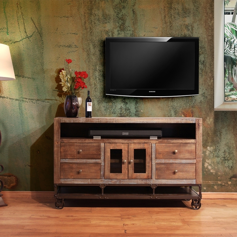 Excellent Fashionable Industrial Style TV Stands Intended For Artisan Urban Gold Ifd560 62 Industrial Style Tv Console (View 39 of 50)