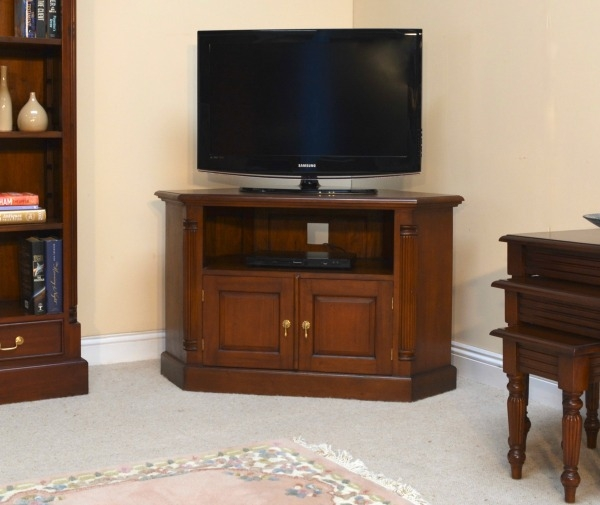 Excellent Fashionable Mahogany Corner TV Cabinets In Solid Mahogany Pillar Corner Tv Unit Cbn062 Lock Stock Barrel (View 21 of 50)