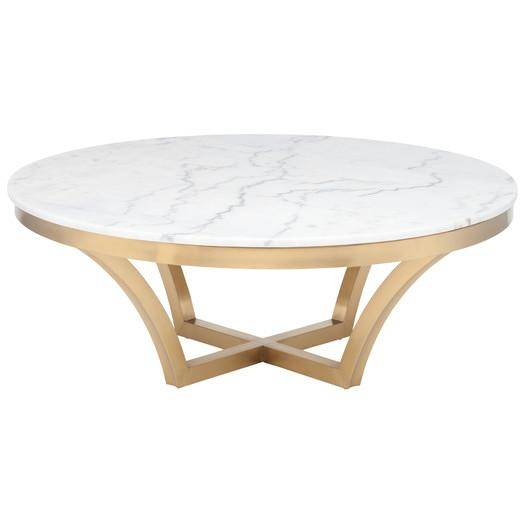 Excellent Fashionable Marble Round Coffee Tables Within White Marble Round Top Brown Wooden Midcentury Legs Coffee Table (View 15 of 50)