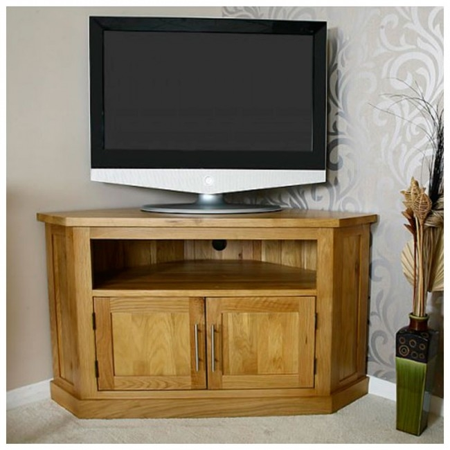 Excellent Fashionable Oak Corner TV Stands Within Light Solid Oak Corner Tv Stand Best Price Guarantee (Image 19 of 50)