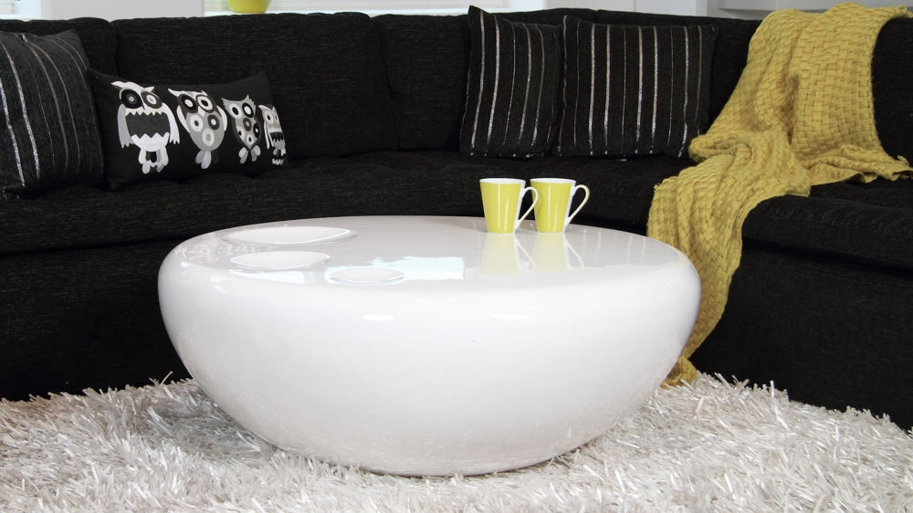 Excellent Fashionable Round High Gloss Coffee Tables With Regard To Round White Coffee Table Modern Table And Estate (View 33 of 50)