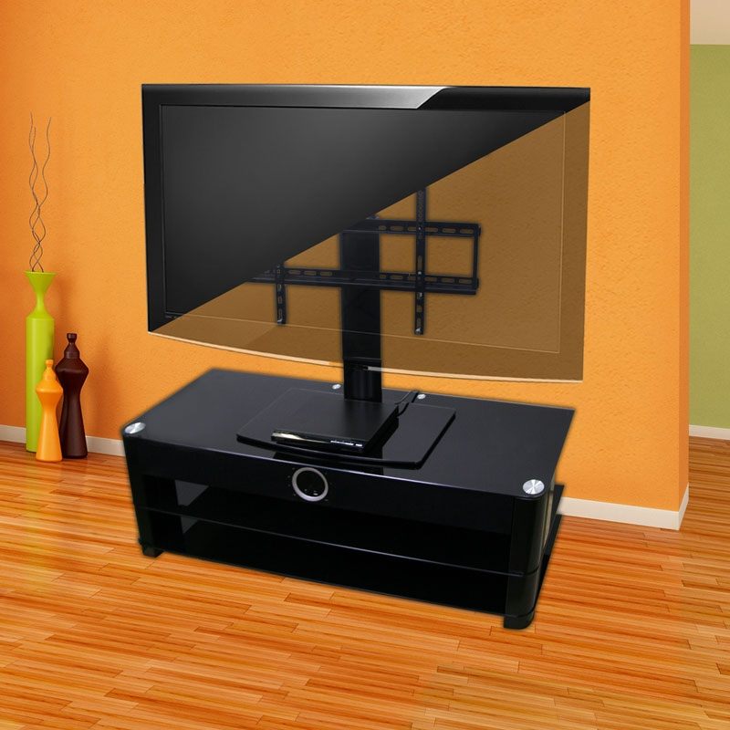 Excellent Favorite 44 Swivel Black Glass TV Stands With Universal Tabletop Tv Stand Swivel Height Adjustment Av (Image 16 of 50)