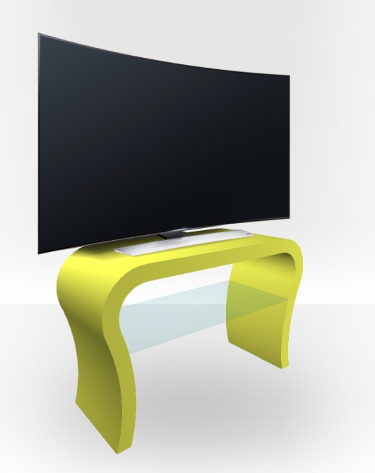 Excellent Favorite Curve TV Stands Within Lime Green Matt Tv Stand Curved Free Uk Delivery Zespoke (View 26 of 50)