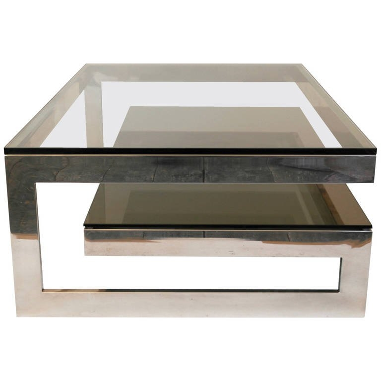 Excellent Favorite Glass And Chrome Coffee Tables Intended For Cantilevered G Mirror Chrome Coffee Table With Smoke Glass (Image 14 of 50)