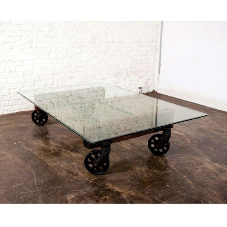 Excellent Favorite Glass Coffee Tables With Casters Inside Best 25 Coffee Table With Wheels Ideas On Pinterest Industrial (Image 16 of 50)